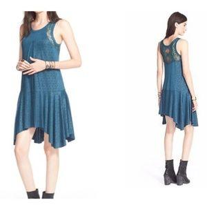 FP XS NWT Make It Count Teal Swing Polka Dot Dress